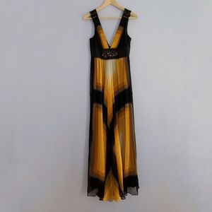 BCBGMaxAzria Silk Dress Yellow & Black, 4